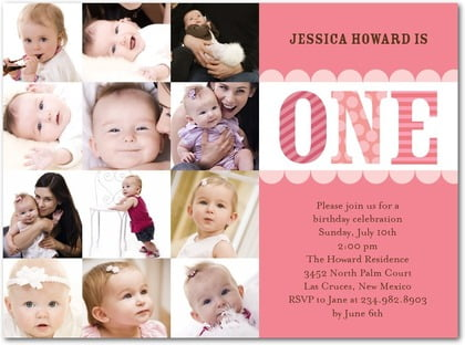 photos baby first birthday invitations wording