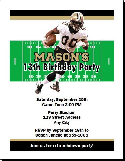 football new orleans saints birthday invitations