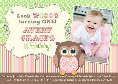 owl baby first birthday invitations wording