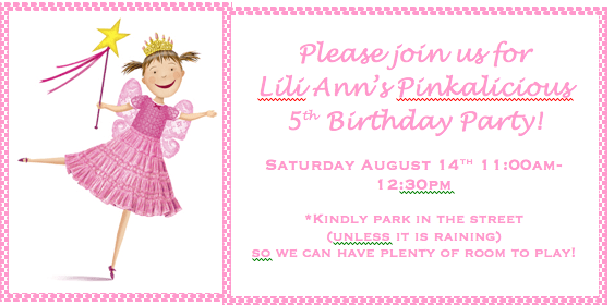pink 5 years old birthday party invitations wording