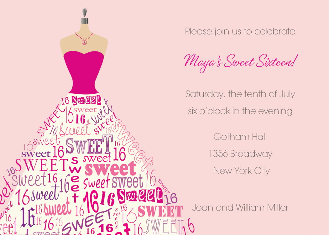 dressed up sweet 16th birthday invitations templates