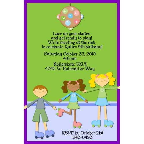 girls roller skate birthday party invitations