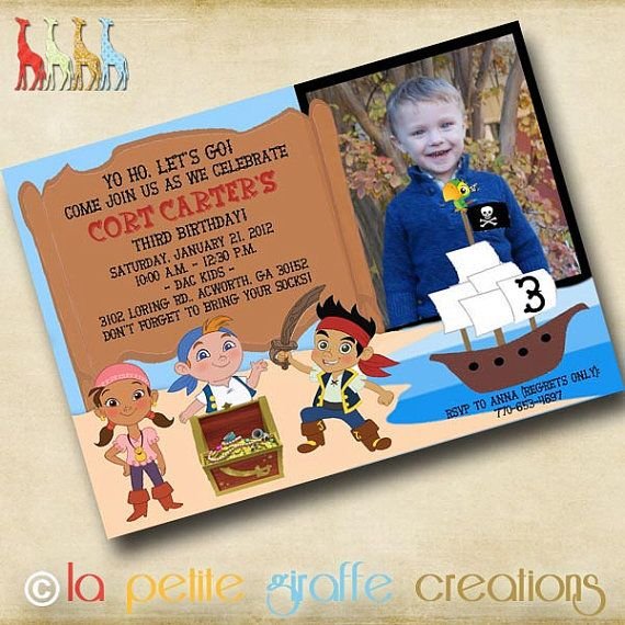 cute free jake and the neverland pirates birthday invitations