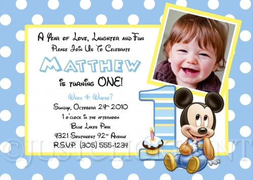 baby mickey first birthday invitations  drevio invitations design, Birthday invitations