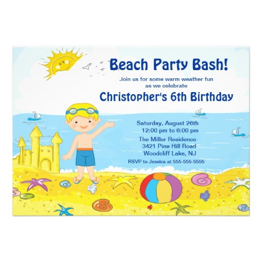 beach boy birthday party invitations wording samples