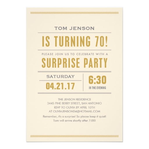 words surprise 70th birthday party invitations