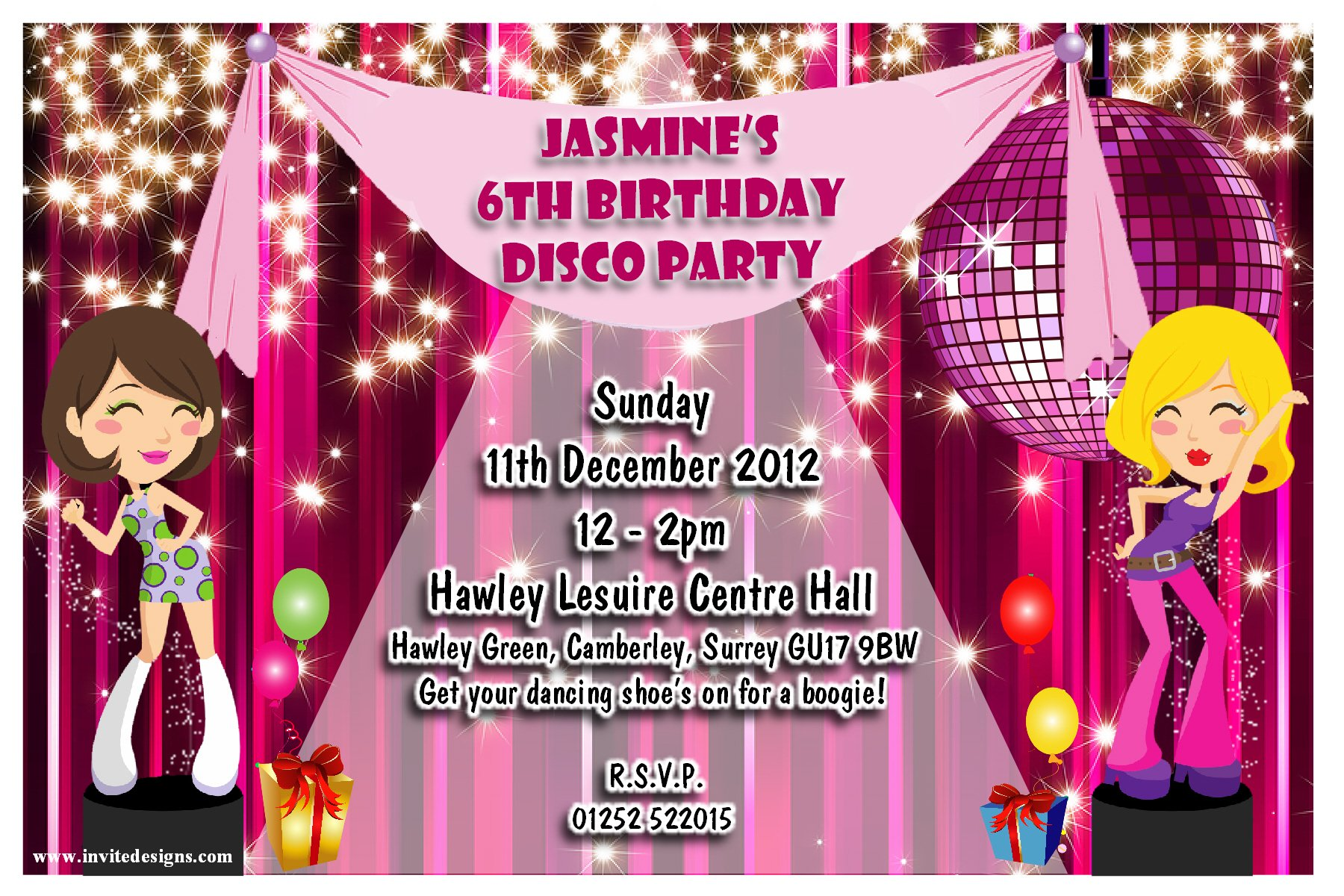 dance custom birthday invitations for adult
