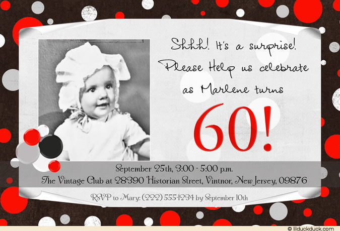 baby surprise 60th birthday party invitations wording