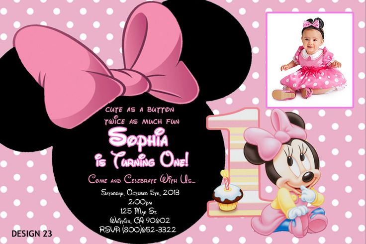 minnie mouse first birthday invitations ideas  drevio invitations, Birthday invitations