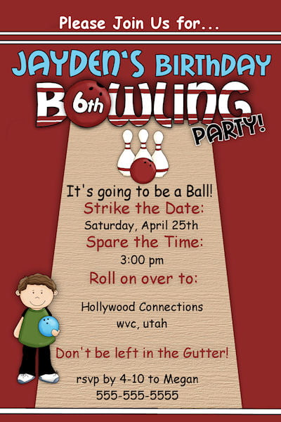 Free Printable Bowling Birthday Invitations | Drevio ...