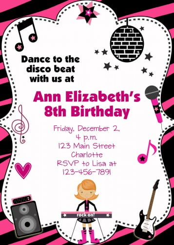concert custom birthday invitations for adult