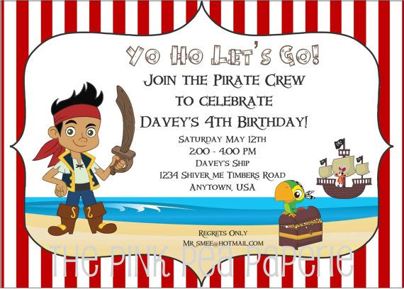 red and white jake and the neverland pirates birthday invitations