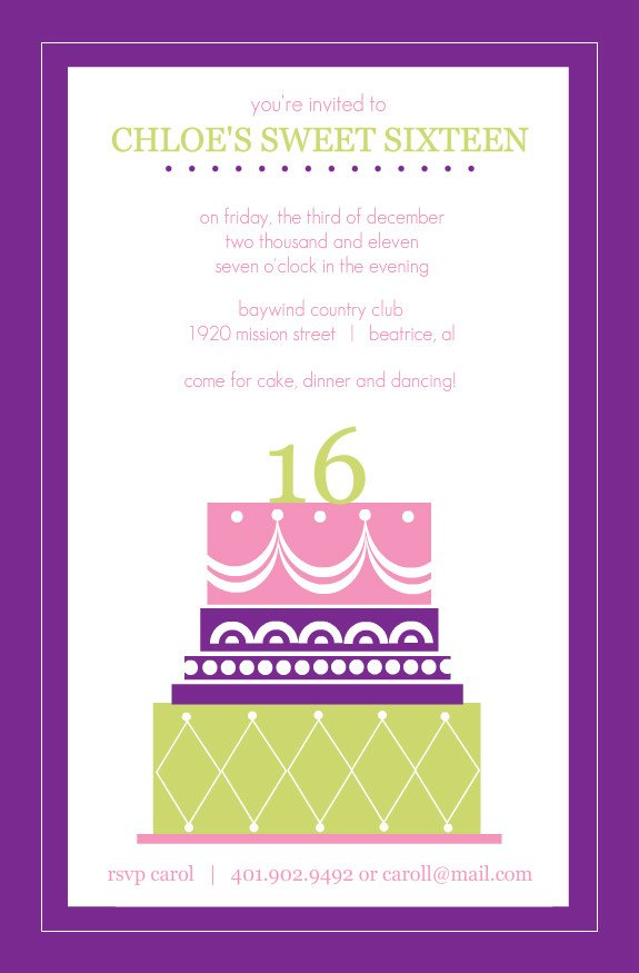 cakes sweet 16 birthday invitations templates