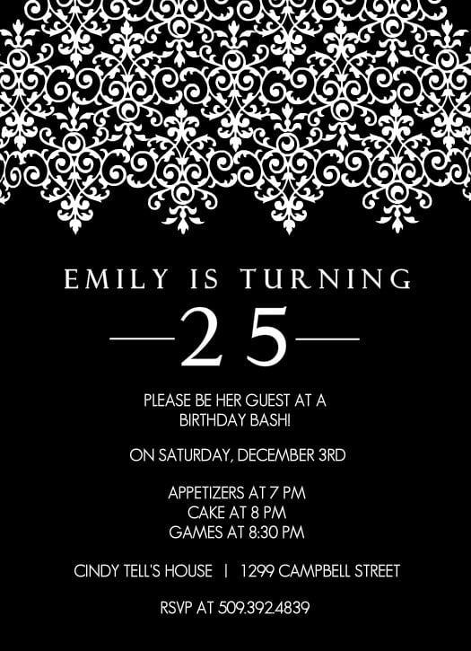 elegant black and white birthday party invitations