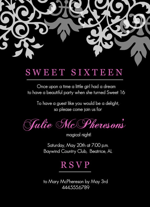 black pink sweet 16th birthday invitations templates free