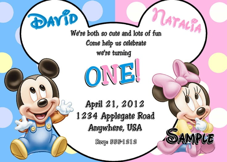 cartoon mickey and minnie twin birthday invitations
