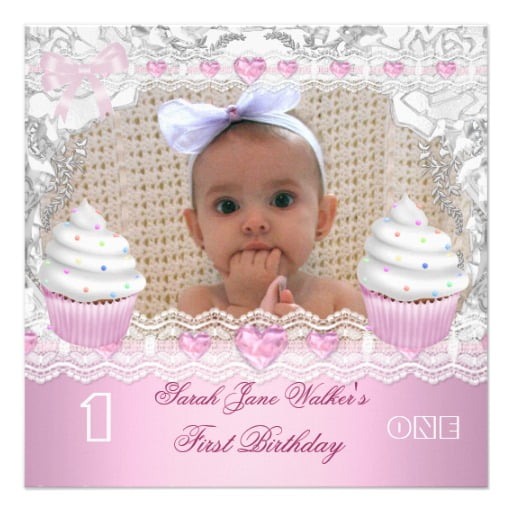 cupcakes baby first birthday invitations wording