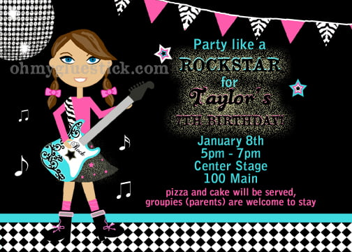 rockstar custom birthday invitations for adult