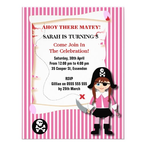 girl pirate birthday invitations wording