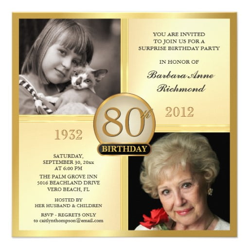 grandma 80 years old birthday invitations