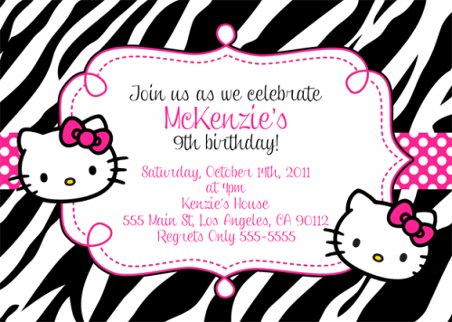 black white hello kitty birthday invitations free