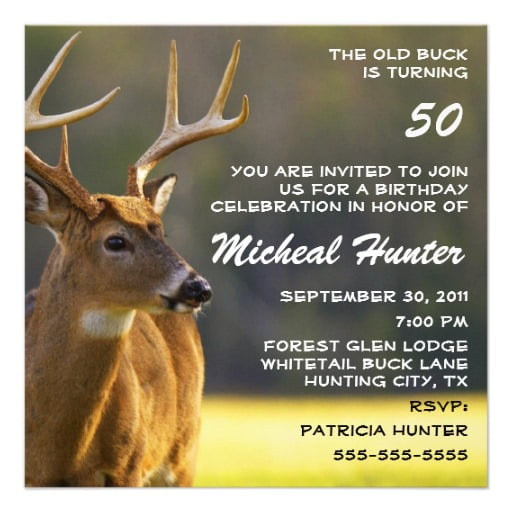 deer funny 50th birthday party invitations