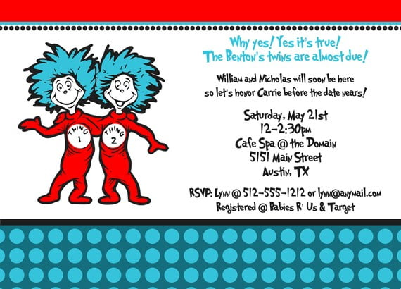 blue thing 1 and thing 2 birthday party invitations