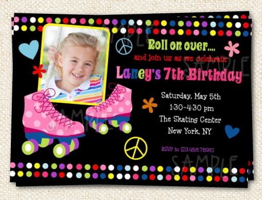 photo roller skate birthday party invitations