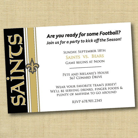 football team new orleans saints birthday invitations