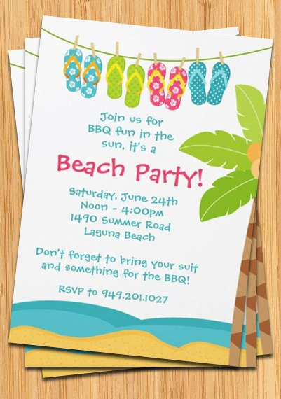 beach birthday party invitations wording samples