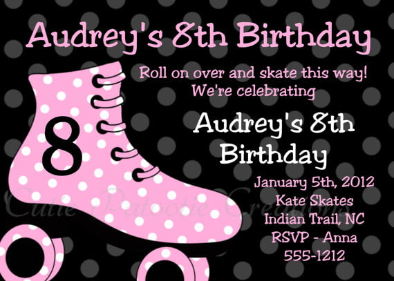 polka dots roller skate birthday party invitations