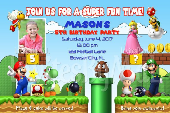 games super mario brothers birthday invitations