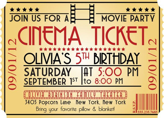 ticket kids birthday party invitations templates free printable