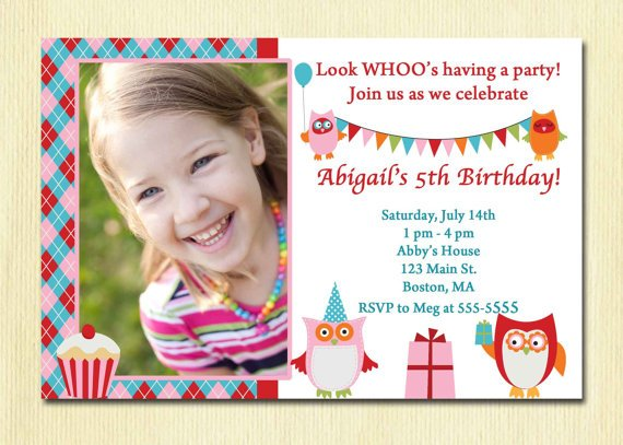 girl 5 years old birthday party invitations wording