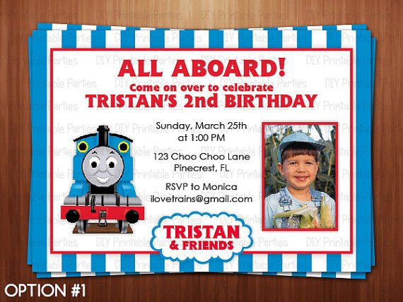 thomas the train photo birthday invitations  drevio invitations, Birthday invitations