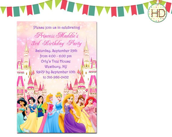 personalized disney princess birthday invitations  drevio, Birthday invitations