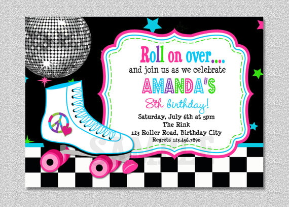 arena roller skate birthday party invitations