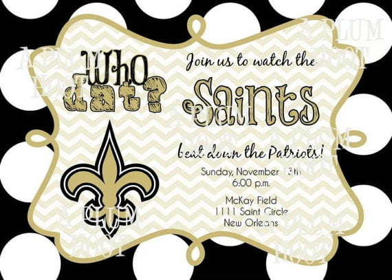 new orleans saints birthday invitations logo