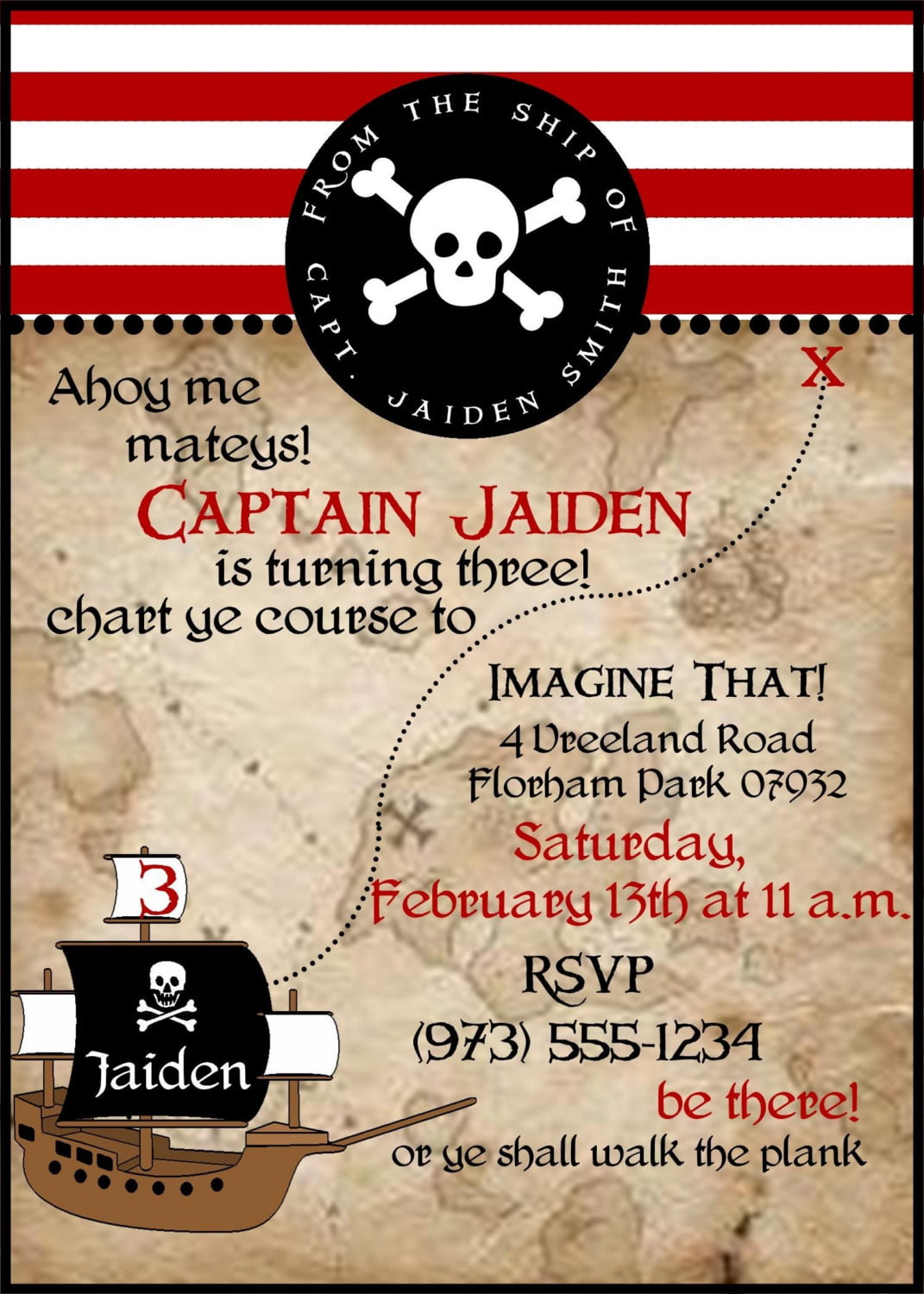 captain pirate birthday invitations wording