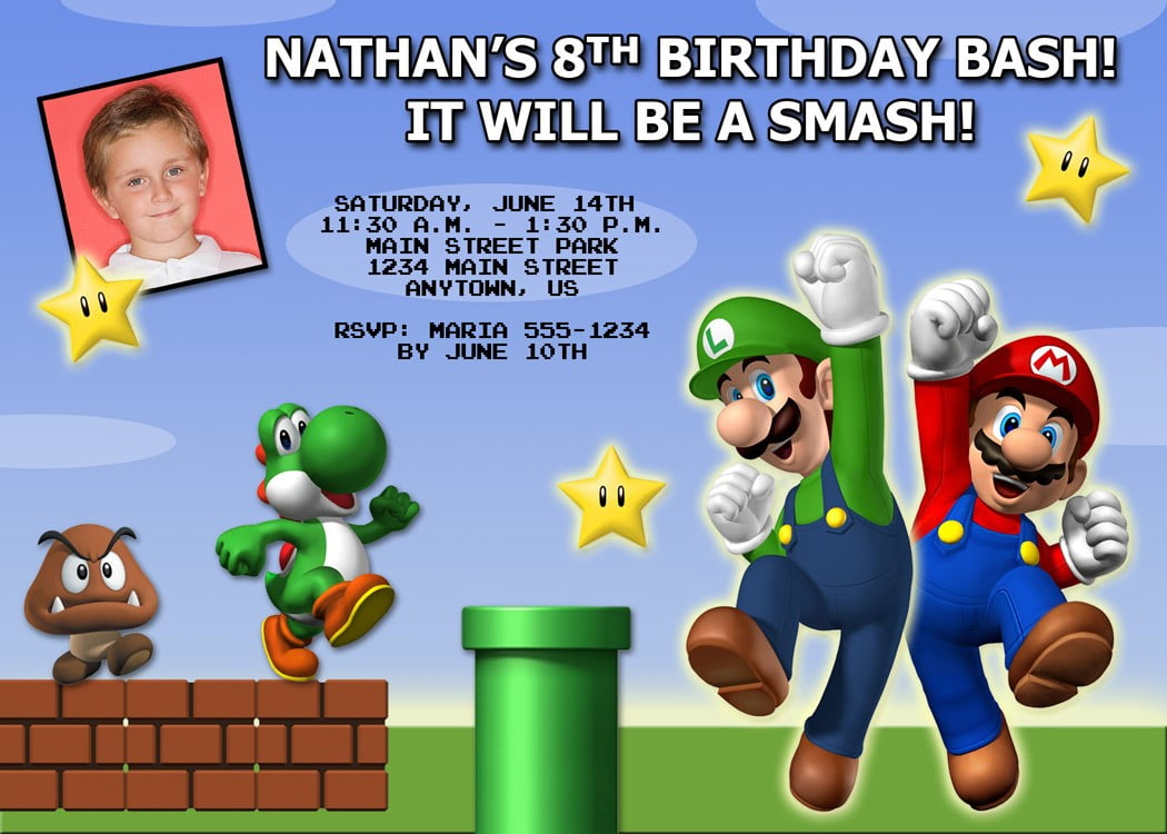 levels super mario brothers birthday invitations