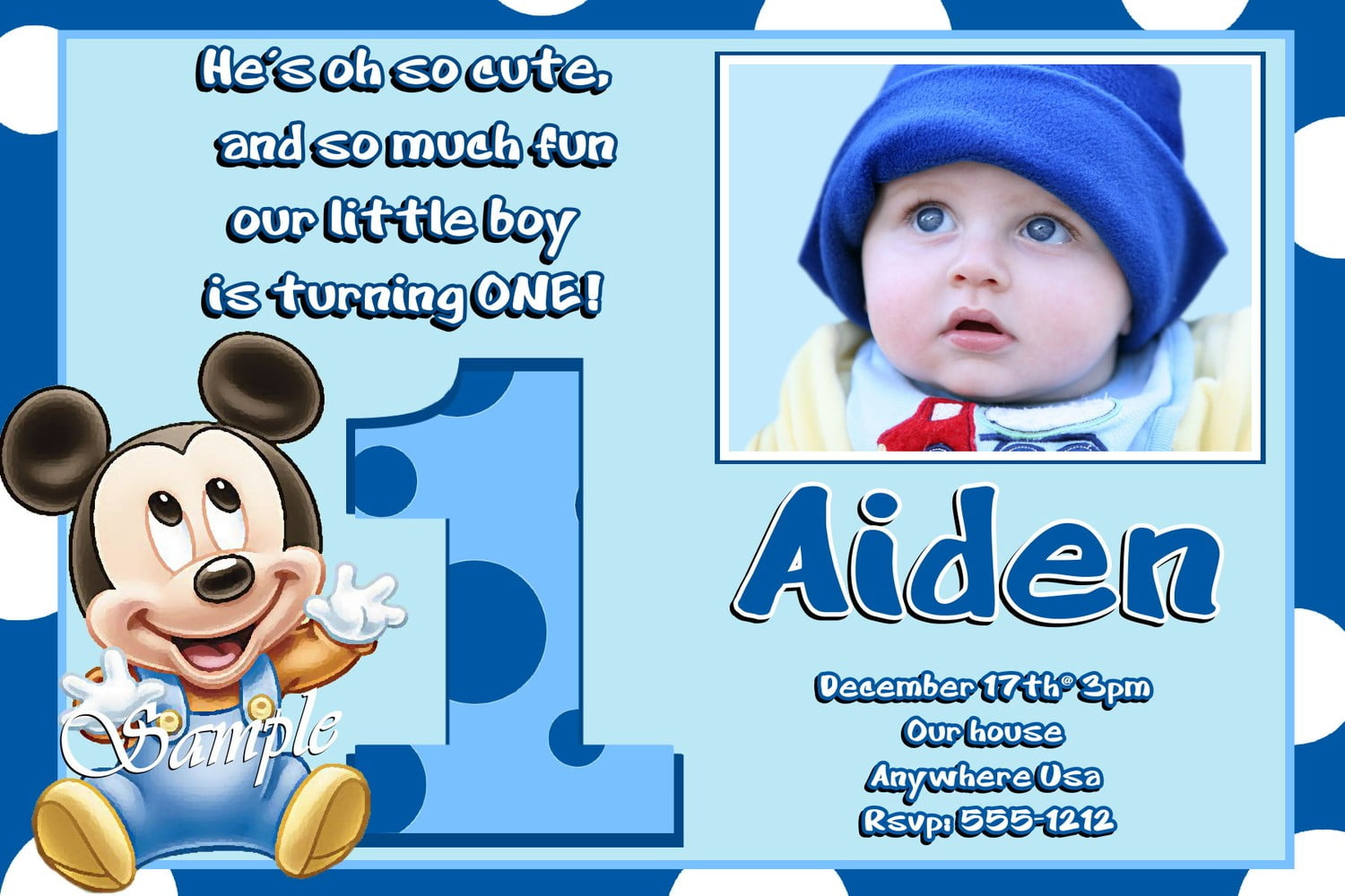 baby free mickey mouse birthday invitations