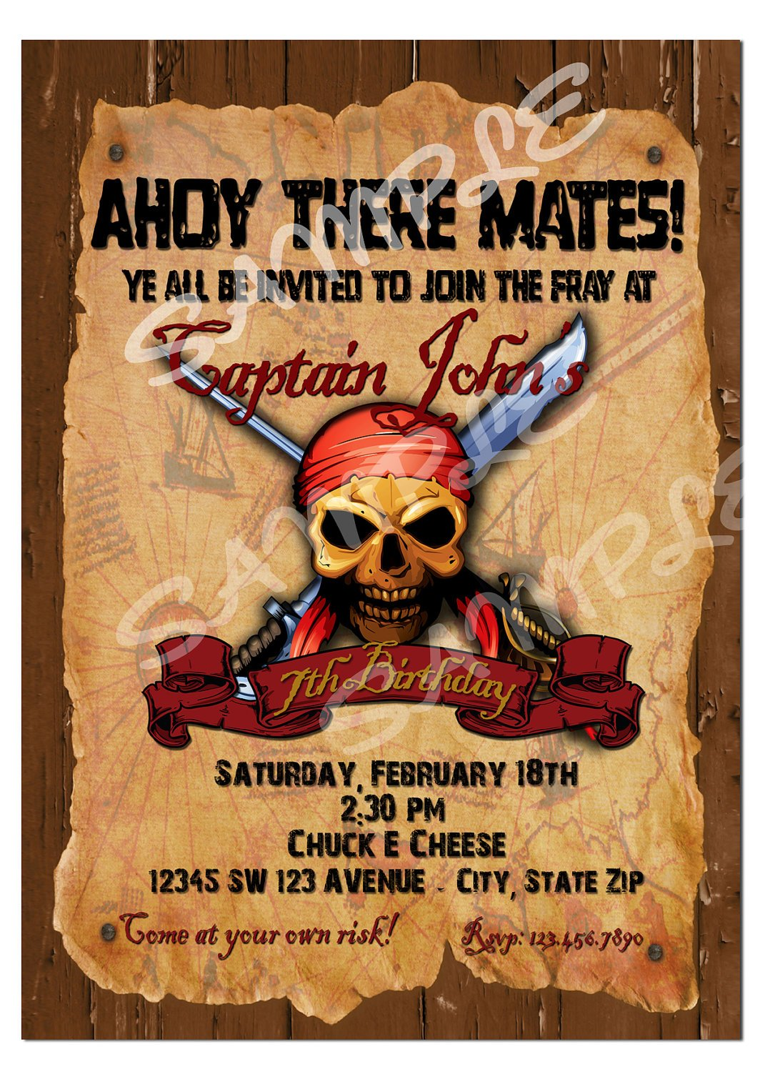 skull pirate birthday invitations wording