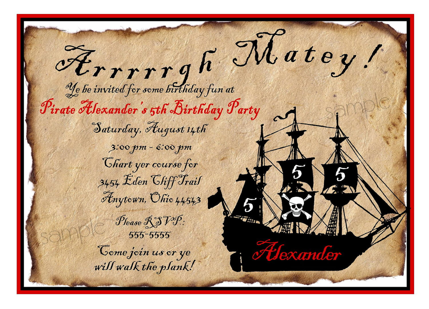 letter pirate birthday invitations wording