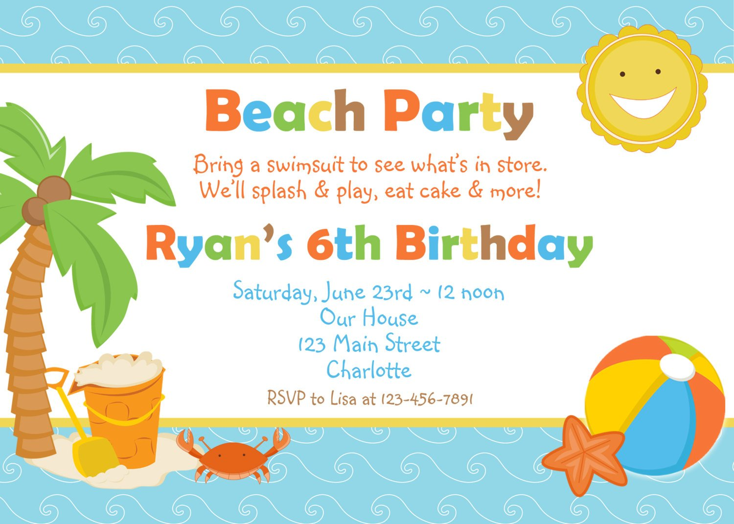 summer birthday party invitations wording samples
