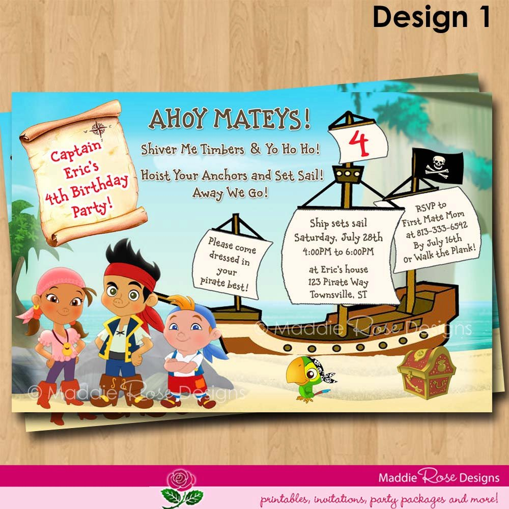 ship jake and the neverland pirates birthday invitations templates