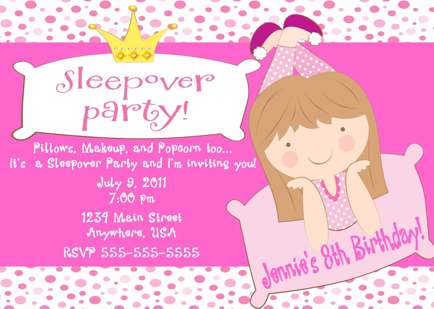 slumber printable birthday for girls