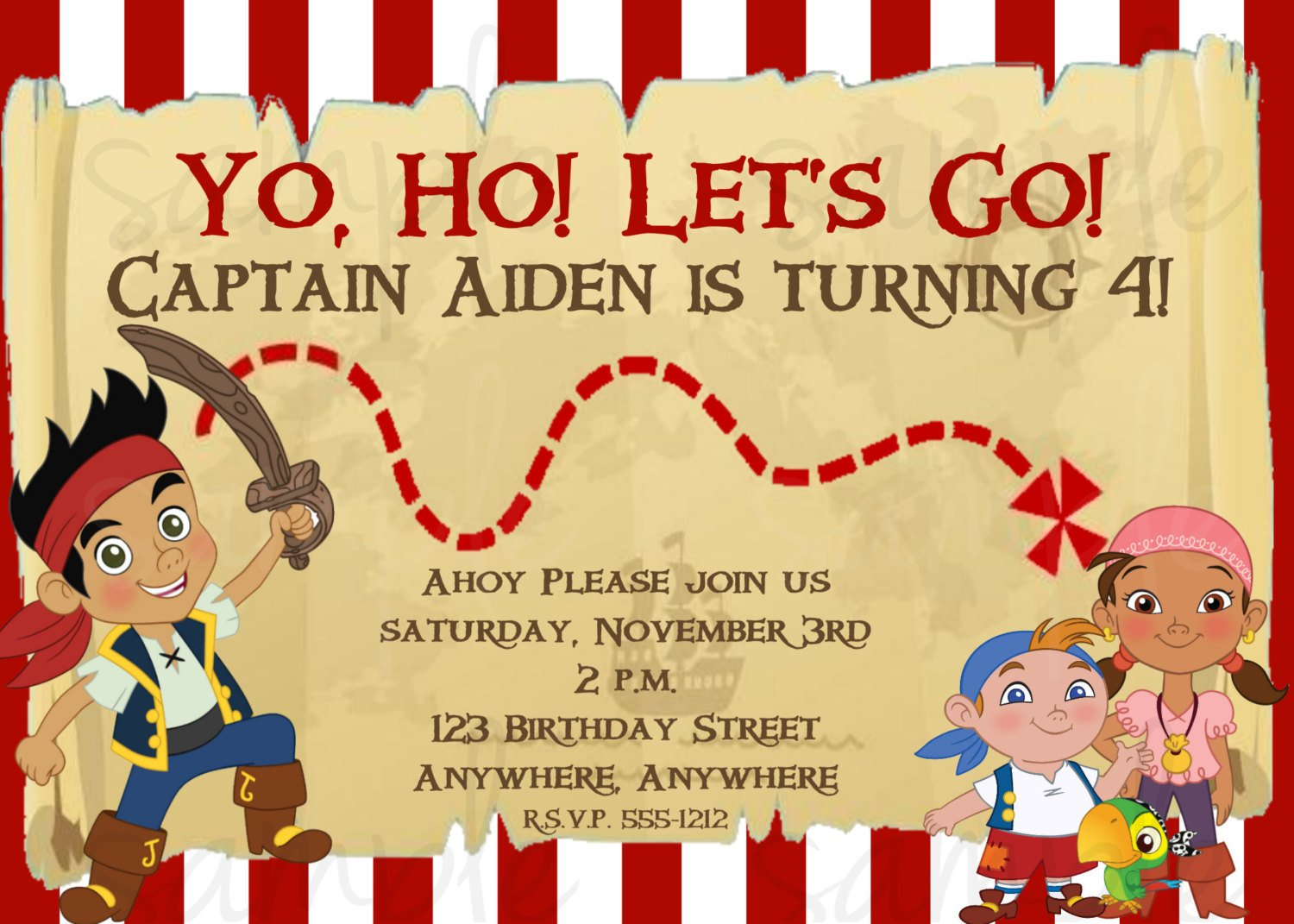captain free jake and the neverland pirates birthday invitation