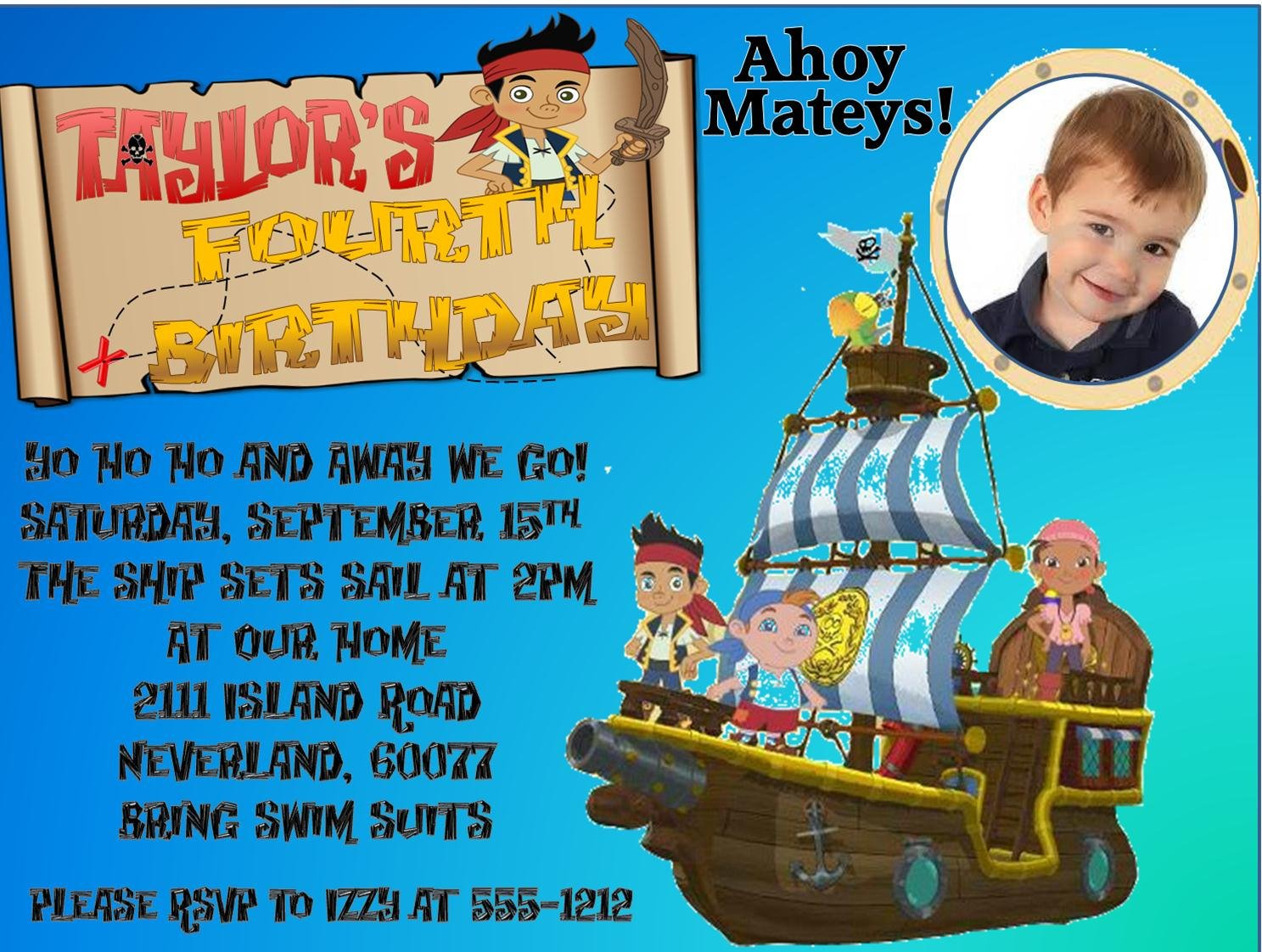 pictures free jake and the neverland pirates birthday invitations