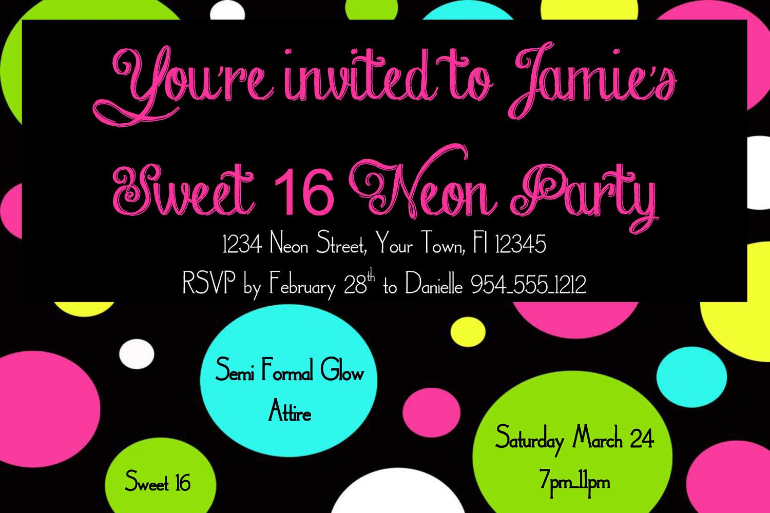 neon sweet 16 birthday invitations templates