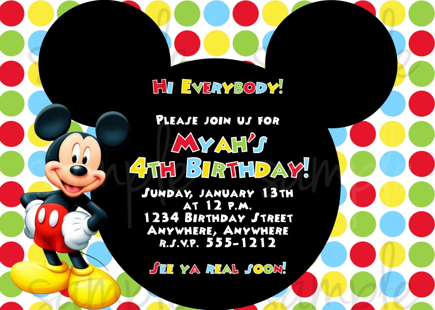 colorful free mickey mouse birthday invitations